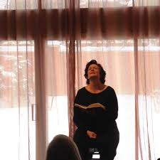Jeanmarie (Simpson) Bishop as Mary Dyer at the Toronto Friends Meeting, February 2015.